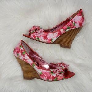 NAUGHTY MONKEY Pink & Red Peep Toe Heels